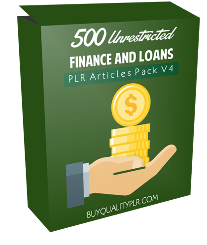 500 Unrestricted Finance and Loans PLR Articles Pack V4