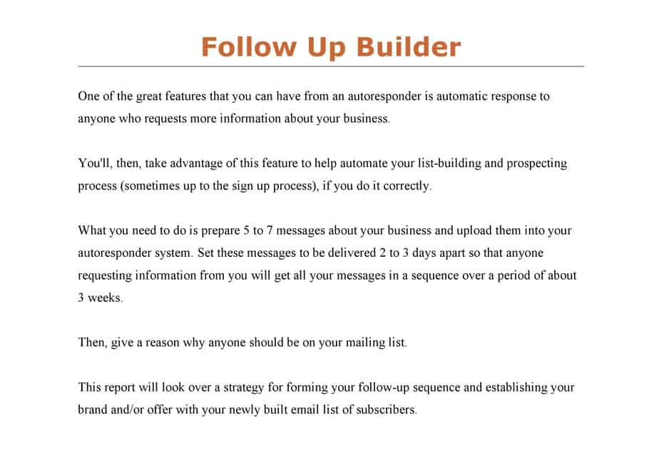 Follow Up Builder PLR List Building Toolkit