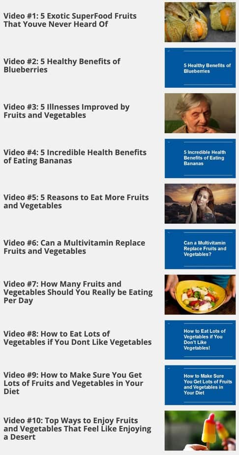 The Miraculous Power of Fruits and Vegetables Sales Funnel MRR videos