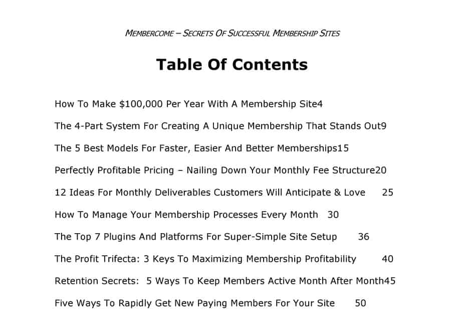 Membercome Membership Site Brandable Coaching Course Table Of Contents