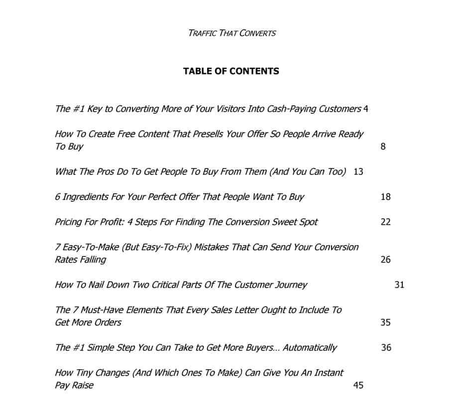 Traffic That Converts Coaching Course Table Of Contents
