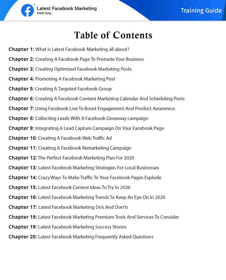 Latest Facebook Marketing Made Easy Table Content