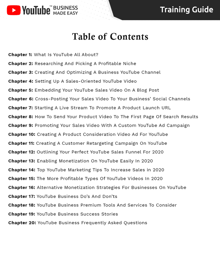 YouTube Business Made Easy Table Content