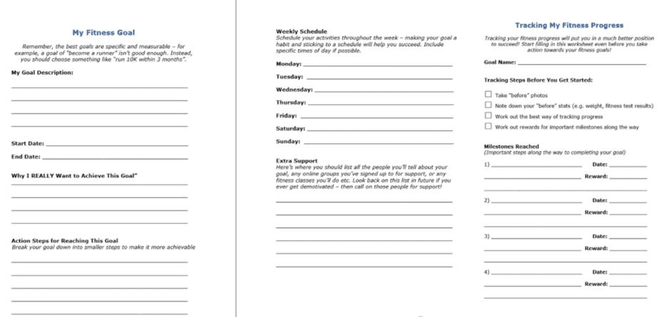 Fitness Goal Tracking PLR Worksheets