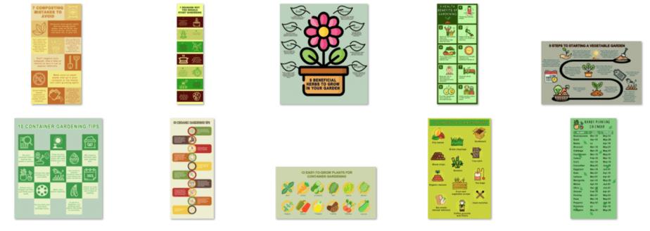 10 Gardening PLR Infographics Sceenshot