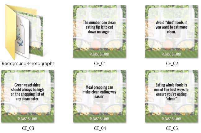 Clean Eating Premium PLR Social Graphics