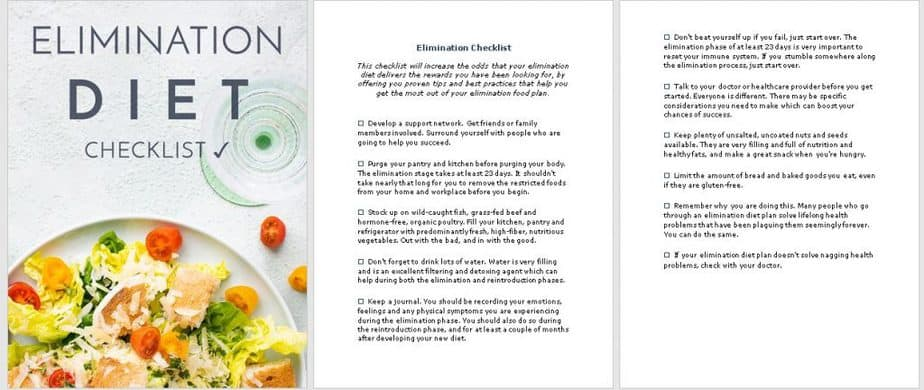 Elimination Diet Premium PLR Checklist Sneak Preview