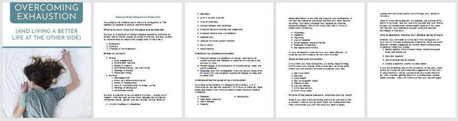 Exhaustion Premium PLR Checklist Sneak Preview