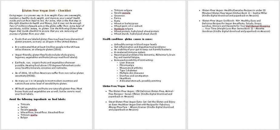 Gluten Free Vegan Checklist