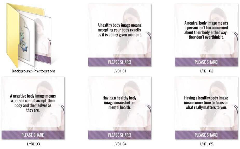Healthy Body Image Premium PLR Social Graphics