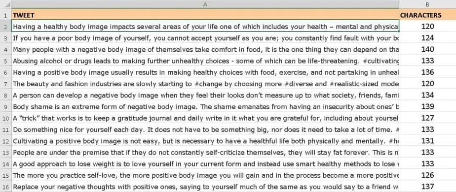 Healthy Body Image Premium PLR Tweets