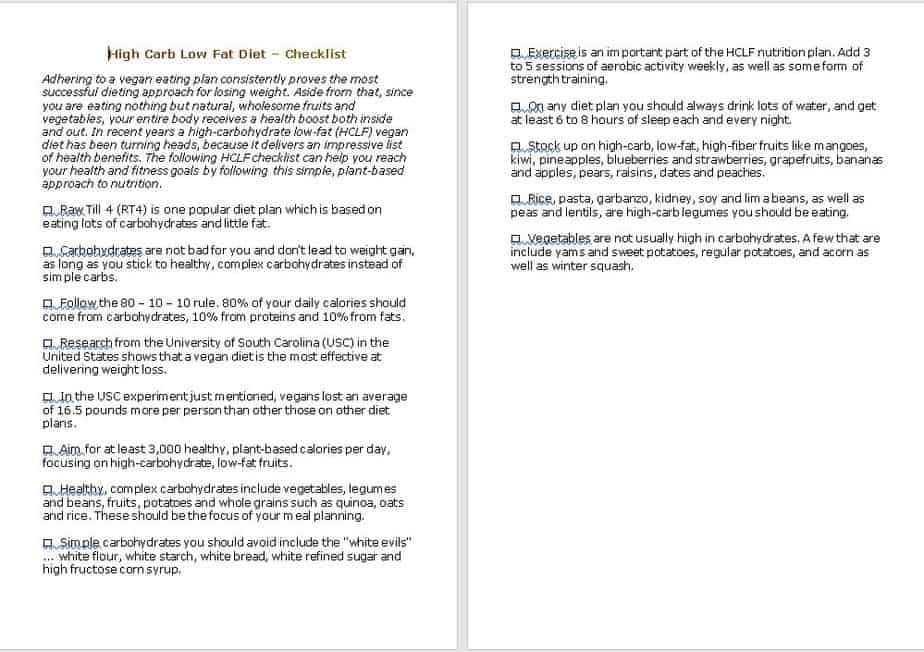 High Carb Low Fat Checklist