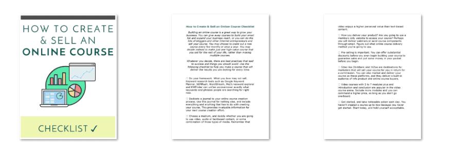 Online Courses PLR Checklist Inside Look