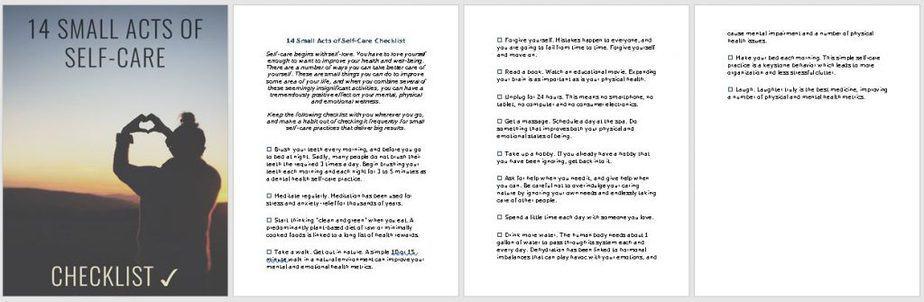 Self Care PLR Checklist Images