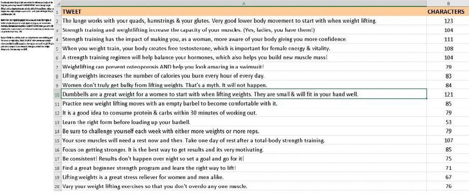 Strength Training for Women PLR Social Media Tweets and Bylines