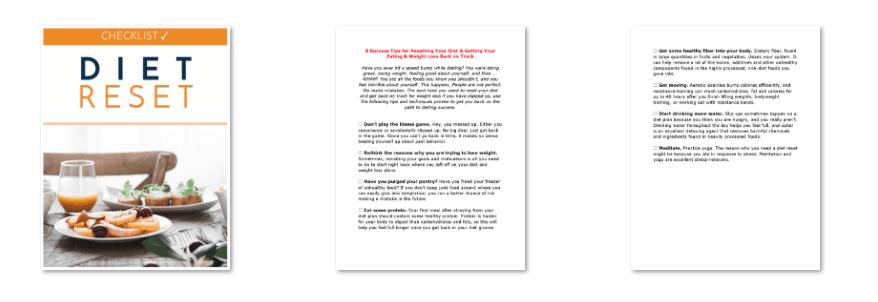 Diet Reset PLR Checklist Inside Look