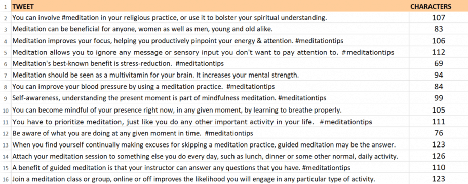 Meditation and Mindfulness PLR Tweets