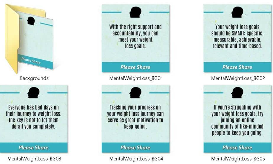 Mental Side of Weight Loss Premium PLR Social Media Tips