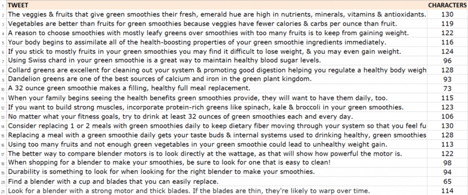 Smoothies and Superfoods PLR Tweets