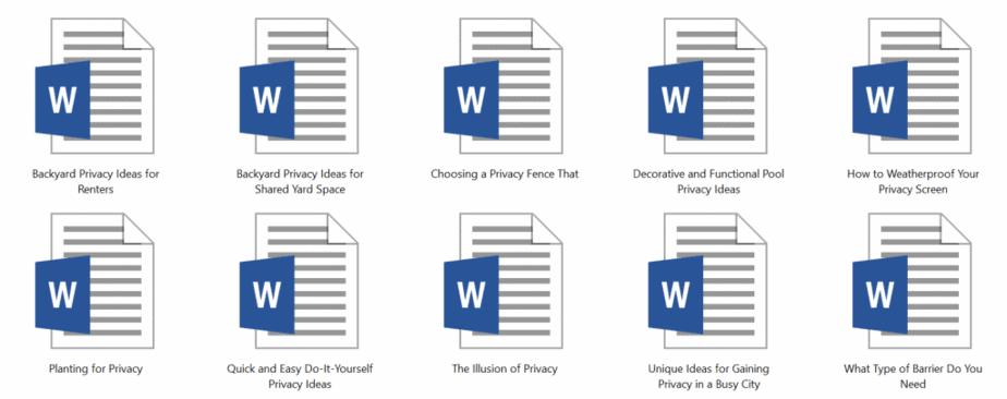 Backyard Privacy PLR Articles Sample Doc