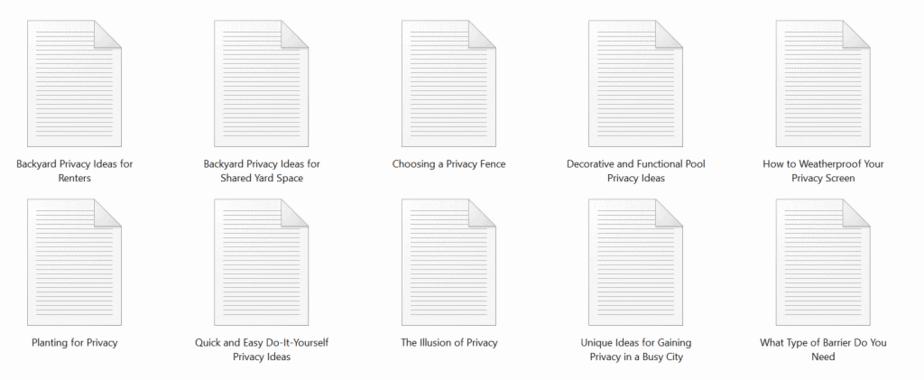 Backyard Privacy PLR Articles Sample Text