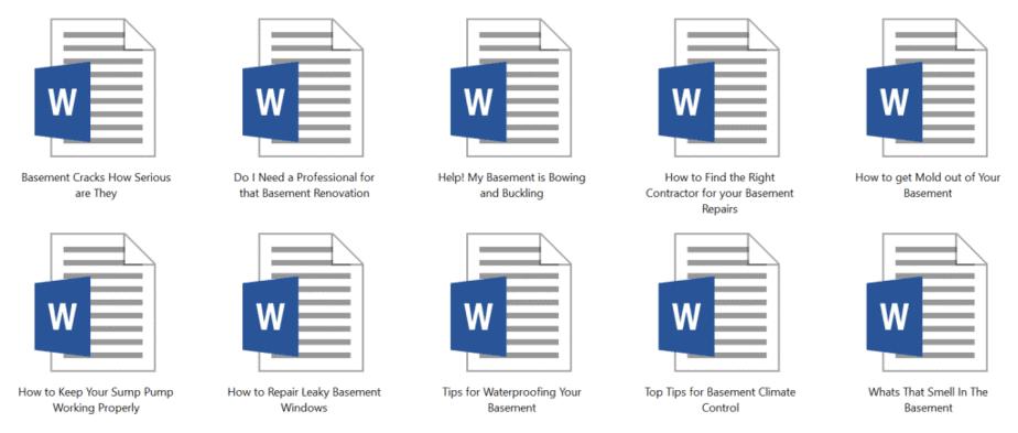 Basements PLR Articles Sample Doc