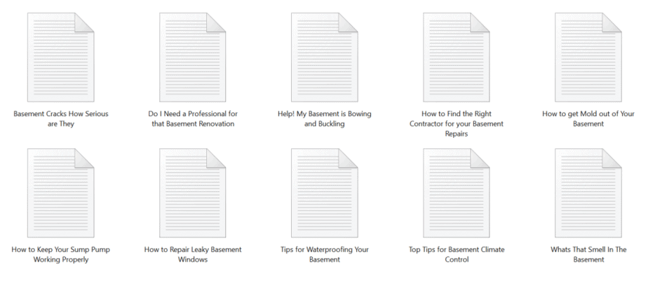 Basements PLR Articles Sample text