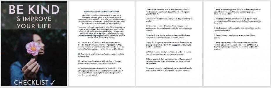 Be Kind Premium PLR Checklist Sneak Preview