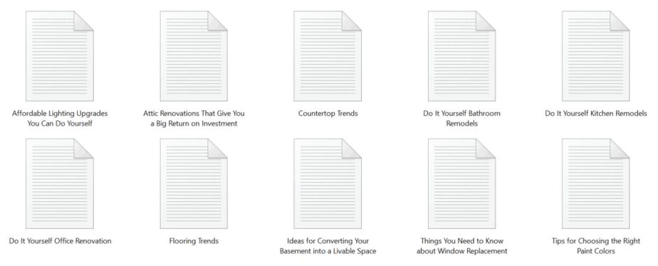 DIY Home Remodels PLR Articles Sample text