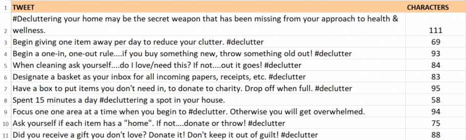 Declutter Your Home Tweets