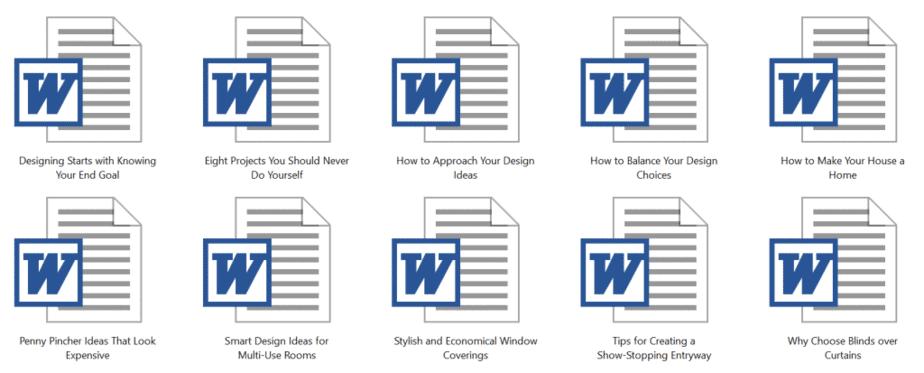 Design Decorating PLR Articles Sample Doc