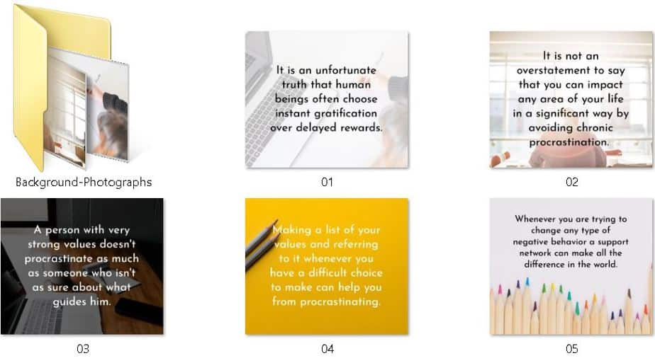 End Procrastination Premium PLR Social Media Graphics