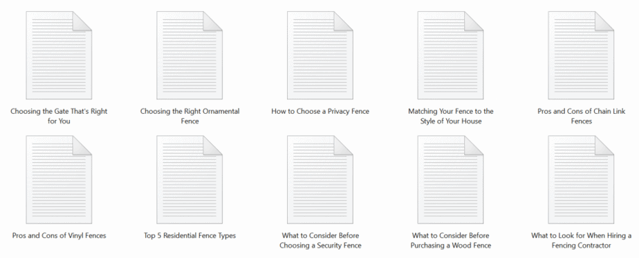 Fencing PLR Articles Sample text