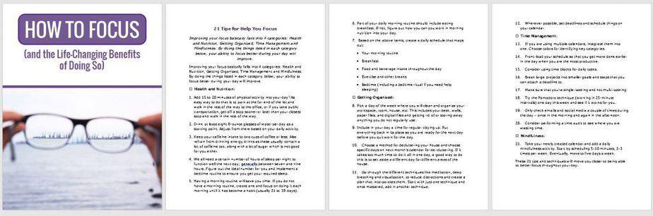 Focus Premium PLR Checklist Sneak Preview