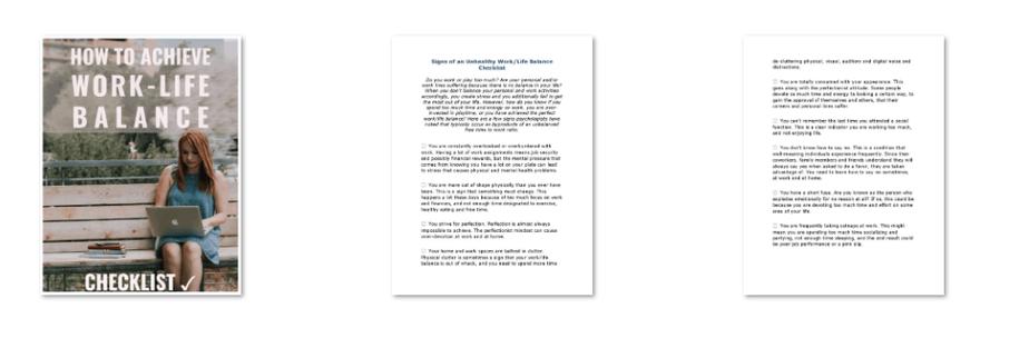 Work Life Balance PLR Checklist Inside Look