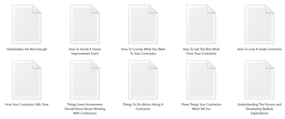 General Contractors PLR Articles Sample text