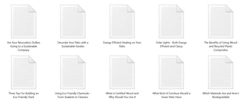 Green Decking PLR Articles Sample text