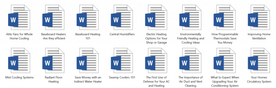 Heating and Cooling PLR Articles Sample doc