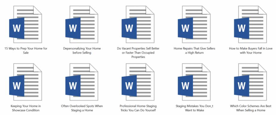 Homestaging PLR Articles Sample doc