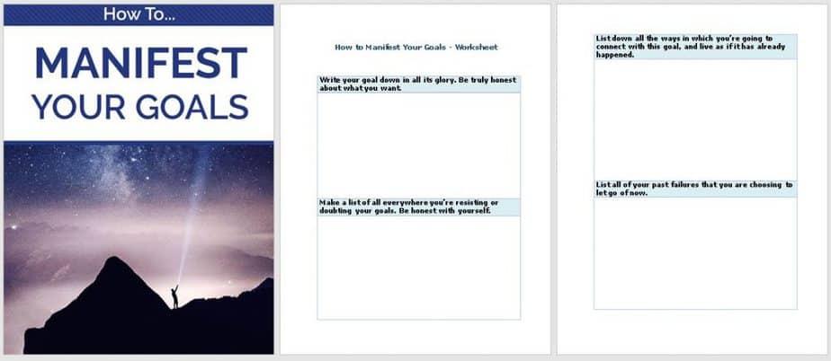 Manifest Your Goals Premium PLR Worksheet