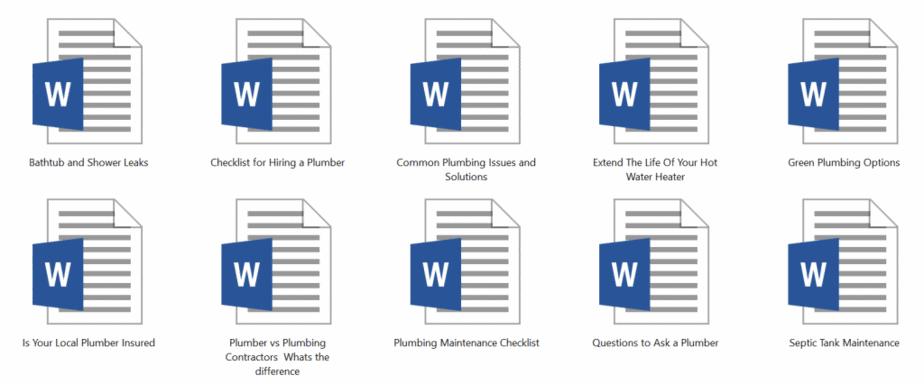 Plumbing PLR Articles Sample doc
