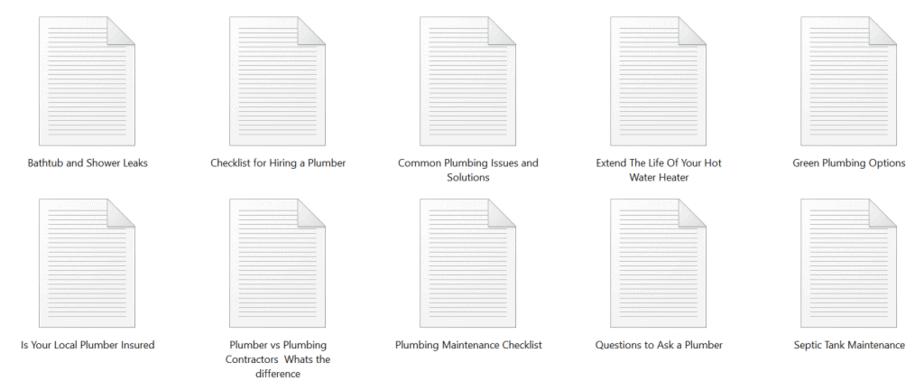 Plumbing PLR Articles Sample text