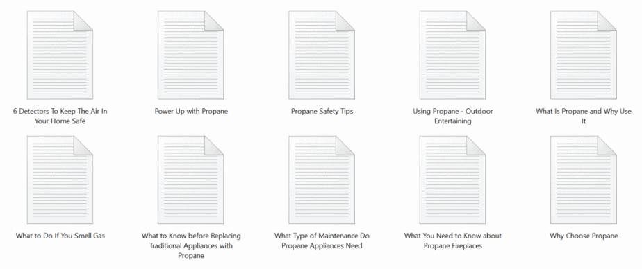 Propane PLR Articles Sample text