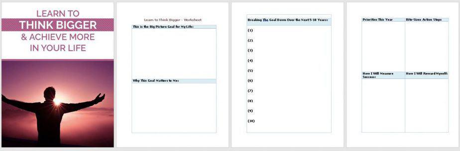 Think Bigger Premium PLR Worksheet Sneak Preview