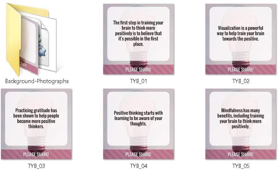 Think Positive Premium PLR Social Media Graphics