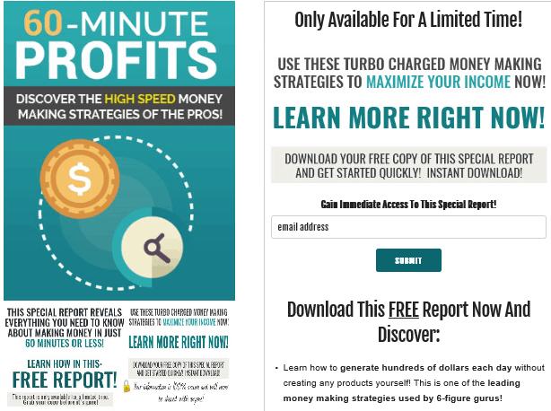 60 Minute Profits PLR Squeeze Page