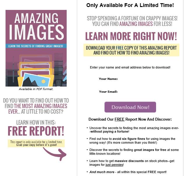 Amazing Images PLR Lead Magnet Kit Squeeze Page