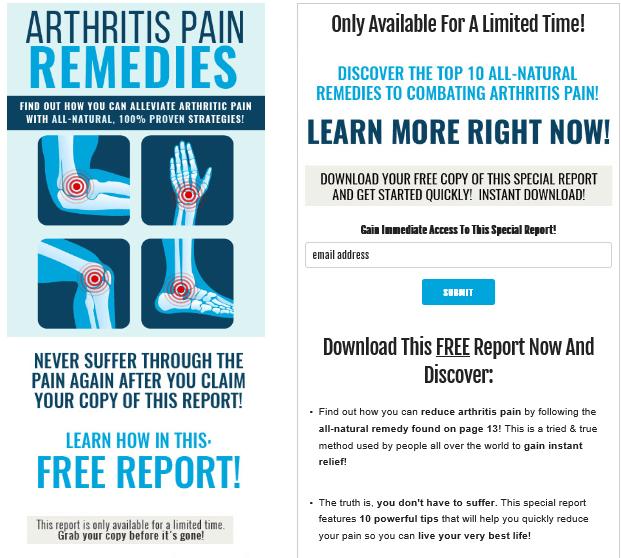 Arthritis Pain Relief PLR Lead Magnet Kit Squeeze Page