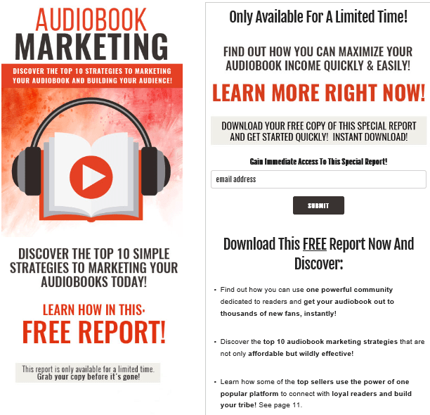 Audiobook Marketing PLR Lead Magnet Kit Squeeze Page