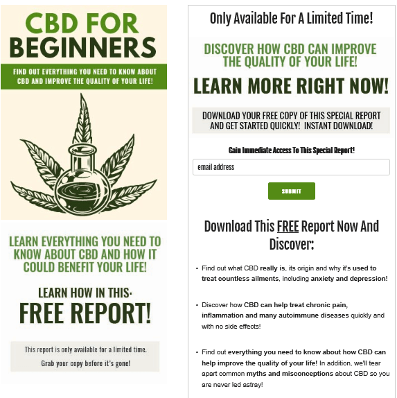 CBD for Beginners PLR Lead Magnet Kit Squeeze Page
